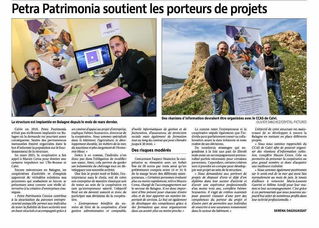 Article Corse Matin pour Petra Patrimonia Corsica en Balagne